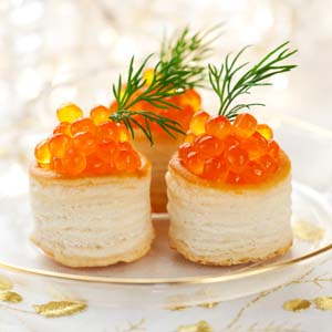 Salmon roe hors d'oeuvre