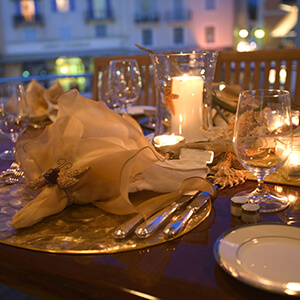 Yacht Candle lit place setting