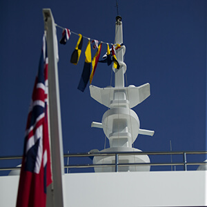 Nautical yacht flags and antenna mast