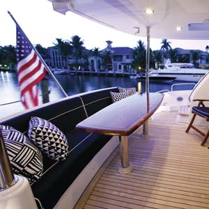 Yacht stern seating area  with US Flag